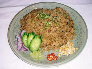 fried rice minced pork and olive